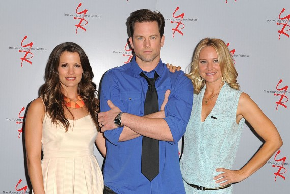 918c4bffb8f4e LOS ANGELES, CA - JUNE 04: Actors Melissa Claire Egan, Michael Muhney and  Sharon Case attend the 40 years of 'The Young and The Restless' celebration  ...