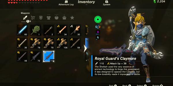 Zelda: Breath Of The Wild Royal Guard's Claymore Location