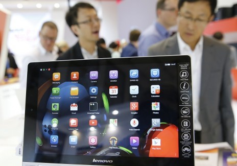 A Lenovo Yoga Tablet 10 HD is pictured at the IFA consumer technology fair in Berlin