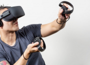 Virtual reality headset with FaceDisplay feature adds three external touchscreens to VR device, which allows the user to interact externally with the same virtual environment as the person wearing the headset.